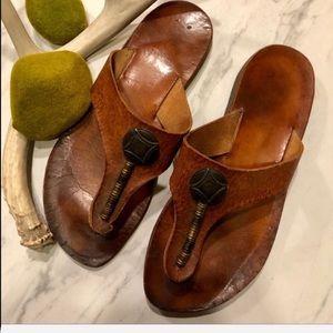 VTG-BOHO-Brown Leather Embellished Boho Sandals-7